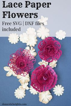 diy paper flower templates, free svg cut file for cricut flower, paper lace flowers tutorial, paper crafts Rolled Paper Flowers, How To Make Paper Flowers, Tissue Paper Flowers, Diy Flowers, Fabric Flowers, Potted Flowers, Free Paper Flower Templates, Paper Flower Tutorial, Flower Svg