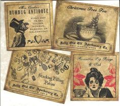 LOT OF~12 Vintage look LABELS~Christmas Labels Set # 2~Grungy labels ~