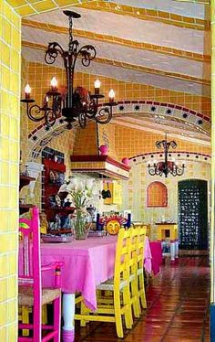 I believe this is my uncles' house in Ajijic. :) AJIJIC COLORIDO - photos by Ute Hagen - Kitchen of hacienda-style home . Mexican Style Homes, Hacienda Style Homes, Mexican Home Decor, Mexican Interior Design, Mexican Designs, Spanish House, Spanish Style, Hacienda Kitchen, Mexican Colors