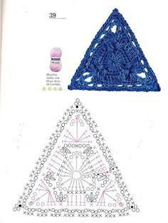 Tejer la Moda - a magazine with crochet motifs. Discussion on LiveInternet - Russian Service Online diary Crochet Triangle Pattern, Crochet Motifs, Crochet Quilt, Crochet Blocks, Crochet Borders, Freeform Crochet, Crochet Diagram, Crochet Chart, Crochet Squares