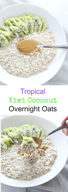 Coconut, kiwi, and almond butter come together perfectly in these Tropical Coconut Kiwi Almond Overnight Oats! Plus a VIDEO. Vegan and Gluten Free. / TwoRaspberries.com