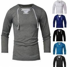 Men Fall Autumn Cotton Blended Color Matching Long Sleeve Drawstring T-shirt