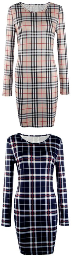 Keep cozy&chic with free shipping&easy return! This plaid body-con dress is detailed with round-neck&slim fit! Try it at Cupshe.com