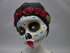 day of the dead art doll bust roses stars heart by amberleilani