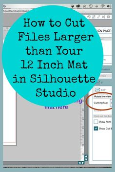How to Cut Files Larger Than Your 12 Mat in Silhouette Studio - Crafting Is My Life Plotter Silhouette Cameo, Silhouette Cutter, Silhouette School, Silhouette Cameo Tutorials, Silhouette Projects, Silhouette Design, Silhouette Files, Silhouette Cameo Shirt, Silhouette Cameo Machine
