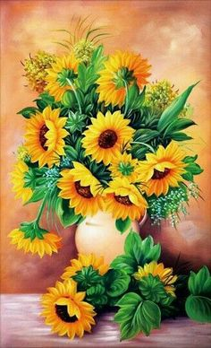 Diamond art is beautiful and we've got the best diamond painting kits around! Check out our what is diamond painting guide for diamond painting tips Sunflower Bouquets, Sunflower Art, Hyacinth Flowers, Sunflower Pictures, Painted Vases, 5d Diamond Painting, Diamond Art, Arte Floral, Mason Jar Diy