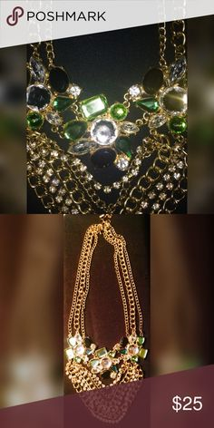 Rhinestone Chandelier Necklace 👀 White, green and black rhinestones with golden chains. Dressy; elegant. Offers 👍 Jewelry Necklaces
