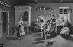 Orig. Holzstich: Sylvesterbräuche in Pommern: Das Pantoffelwerfen. Pomorze, Pomerania 1890 by Ireck Litzbarski Collection, via Flickr
