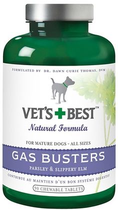 Vets Best Bramton Gas Busters 90 Tab for Dogs    Tummy troubles Our effective. tasty bites help with the discomfort of occasional gas. bloating and digestive upset. Contains Slippery Elm. valued by NAtive Americans for centuries to soothe the stomach and intestines. Ingredients: Key Ingredients Parsley. Slippery Elm. Aloe Vera