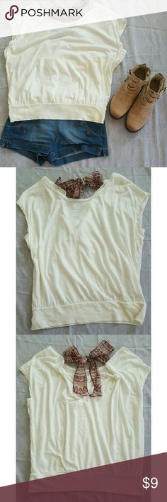 American Eagle Outfitters Dolman Top Loosey-goosey and oh so comfy! This AEO Dolman top has a back tie closure of patterned fabric. Excellent used condition! Off white w/maroon printed fabric ties. American Eagle Outfitters Tops Blouses