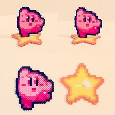 Kirby riding his warp star perler beads by nerdynoodlelabs