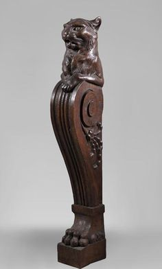 Rare oak wood stair banister with cat decor - Architectural elements, staircase, columns Stair Banister, Wood Staircase, Banisters, Staircase Design, Architectural Antiques, Architectural Elements, Refinish Stairs, Wood Table Legs, Stair Lighting