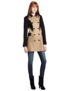 French Connection Women's Colour Block Wonderland Coat, Black/Camel, 8 French Connection. $141.34