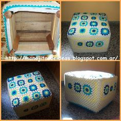 MANOJITOS DE IDEAS: Otra idea con grannys...puff:) Pallet Projects, Design Tutorials, Ideas Para, Crochet Projects, Recycling, Decorative Boxes, House Design, Crafts, Diy