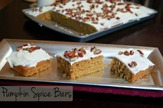Pumpkin Spice bars with a cream cheese frosting.  Yum!