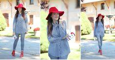 Look en gris con un toque de rojo y un punto de tendencia, ¡una idea estupenda!