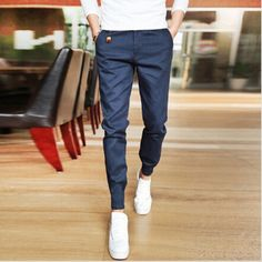 Mens Jogger Fashion Fit Casual High Quality Cotton Pants Free Shipping - Navy #Unbranded #CasualPants