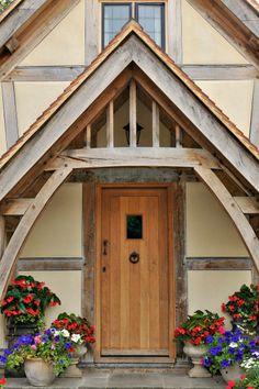 Gallery   Welsh Oak Frame Cottage Front Doors, Oak Front Door, Porch Doors, Front Stoop, House With Porch, House Front, Country Home Exteriors, Country Homes, Porch Canopy