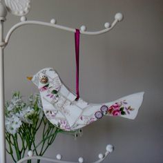 Vintage China Mosaic Bird, Hanging Ornament, valentines, mothers day gift, romantic, retro, royal Albert, English china plate, handmade,love by FunkyMosaicsUK on Etsy