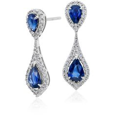 Blue Nile Sapphire and Diamond Halo Drop Earrings (7,235 CAD) ❤ liked on Polyvore featuring jewelry, earrings, sapphire jewellery, blue nile, 18k earrings, blue nile jewelry and sapphire jewelry