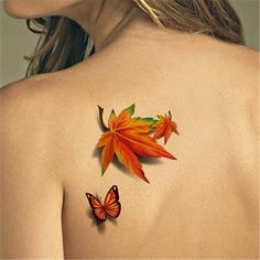 TAFLY Temporary Tattoos Butterfly and Maple Leaf Waterproof Body Art Stickers 5 Sheets ** Check out the image by visiting the link. (This is an affiliate link) 3d Tattoos, Finger Tattoos, Small Tattoos, Tatoos, Tree Tattoos, Thigh Tattoos, Sexy Tattoos, Tribal Tattoos, Tattoo Son