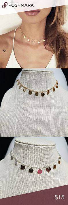 Any 4/$15! Sequin necklace Cute, simple sequin necklace. Avail in Gold tone or Silver tone. Once you add 4 pairs to your bundle, submit offer for $15 & it will be accepted!  #327 Jewelry Necklaces