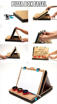 Amazing Uses For Pizza Boxes - love the laptop stand and pizza box easel, but the bibs are classic