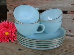 10 piece /FIVE sets of Fireking Delphite Blue turquoise Snack set plates and cups with gold rims on Etsy, $100.00