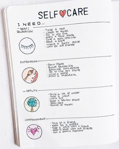 Love this self care page for my bullet journal.