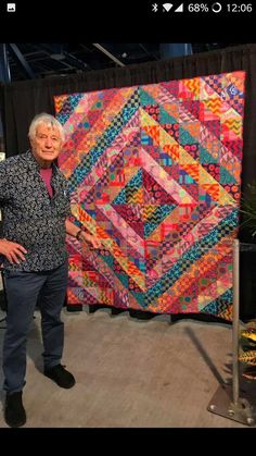 """Uncover More Sweet Kaffe fassett quilts layer cake ideas Batik Quilts Free Kaffe Fassett Quilts Layer Cake . Gobsmacked"""" Baby Quilt Spin Me Around Quilt Pattern From. Layer Cake Quilt Patterns, Layer Cake Quilts, Quilt Patterns Free, Block Patterns, Big Block Quilts, Quilt Blocks, Half Square Triangle Quilts Pattern, Batik Quilts, Jellyroll Quilts"""