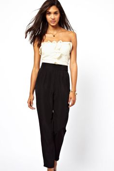 Cheap bandeau jumpsuit, Buy Quality fashion jumpsuit directly from China jumpsuit fashion Suppliers: Hot Fashion Elegant White Black Bandeau Jumpsuit Women with Frill Front Macacao Feminino Combinaison 2017 Overalls Strapless Jumpsuit, Jumpsuit Pattern, White Women, Ladies White, Jumpsuits For Women, Clubwear, The Ordinary, Dresses, Clothes