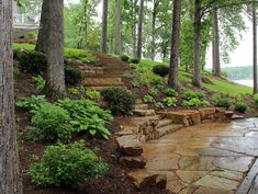 ( Waters edge ) Hillside landscaping - The beauty of shade ( This would be great in our backyard ) ( TN crab orchard flagstone ) - Be A Gardening Star Terraced Landscaping, Landscaping On A Hill, Outdoor Landscaping, Outdoor Gardens, Landscaping Ideas, Backyard Ideas, Backyard Walkway, Inexpensive Landscaping, Walkway Ideas
