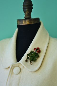 Felt and zipper Holly and Berries Brooch. $34.00, via Etsy.