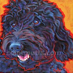 Black LABRADOODLE Dog Art Original Portrait Painting by colormutts, $130.00