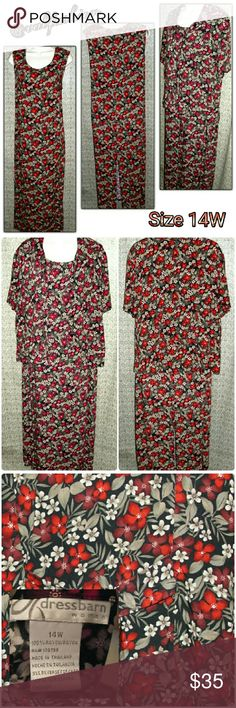 """LISTING!! FULL LENGTH DRESS WITH BUTTON UP TOP! Beautiful dress covered with beautiful deep toned floral pattern! It is a two piece set!! Sleeveless full length dress with short sleeve button up blouse. Dress is 51.5"""" long with 43"""" bust it also has a centered slit in the back that measures 16.5"""" Blouse has 5 buttons, short sleeves and is 25"""" long. 44"""" waist. This is a loose fitting flowey dress both pieces are 100% rayon! Beautiful for any season!! Dress Barn Dresses Maxi"""