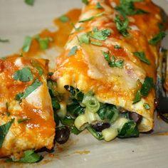 black bean spinach enchiladas w white corn tortillas.