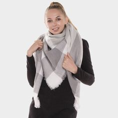 Neutral Plaid Fringed Trim Blanket Scarf - Ivory