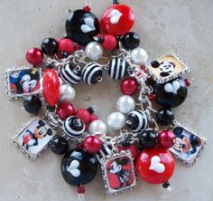 MICKEY MOUSE Inspired Altered Art Chunky Charm Bracelet/Red, White and Black. $33.00, via Etsy.