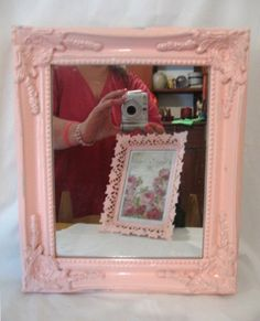 Very Ornate Chic Pale Pink Wood Wall Mirror Paris Cottage Shabby Chippy Distressed Vintage Victorian