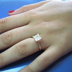 2ct Princess cut solitaire Giamond Engagement ring genuine 14k Solid white gold - 2
