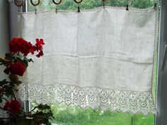 """Vintage Linen & Lace Curtain; Off White Privacy Curtain with Venice Lace H22""""x W35"""" Rustic Curtain, Bathroom Curtain; Cottage Chic Curtain"""