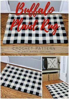 Buffalo Plaid Rug Crochet Pattern : Simple and rustic buffalo plaid rug crochet pattern. I love the way these three colours of yarn come together to create the buffalo pattern. Perfect for a farmhouse touch at Christmas or all year round! Plaid Crochet, Crochet Rugs, Sitting Room Decor, Hand Lettering Styles, Craft Tutorials, Diy Projects, Craft Ideas, Farmhouse Rugs, Farmhouse Style Decorating