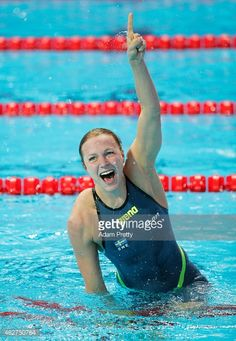 Sarah Sjostrom of Sweden celebrates after breaking a new world record of 55.74 in the Women's 100m Butterfly Semi-finals on day nine of the 16th FINA World Championships at the Aquatics Palace on August 2, 2015 in Kazan, Russia.