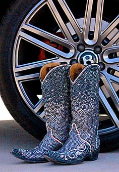 ROCK STARS AND CAVIAR BOOTS BY JACQI BLING- Don't be surprised if you're chased by paparazzi when you step out in these star-studded boots. Like flashing cameras, they put off tons of dazzling sparkle with every step you take. Lavishly loaded with thousands of crystals in a ombre pattern, they start a craze the moment they are spotted! Bling fans everywhere will be obsessed with your glam-rock look.