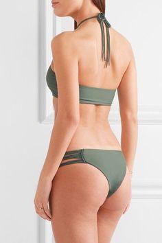 Mikoh - West Oz Crocheted Halterneck Bikini Top - Army green - x large
