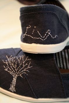 I have no desire for embroidered shoes, but I love the stitchwork on the tree. (Wish I could crop pics in Pinterest to show you better)