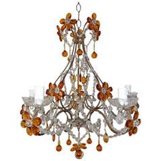 French Amber Balls Crystal Prisms Flowers Chandelier | From a unique collection of antique and modern chandeliers and pendants  at https://www.1stdibs.com/furniture/lighting/chandeliers-pendant-lights/