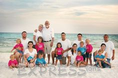 large family beach photo.