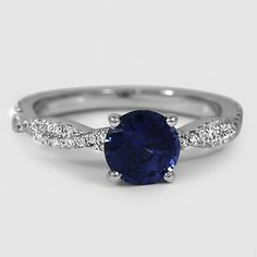 18K White Gold Sapphire Petite Luxe Twisted Vine Diamond Ring // Set with a 6.5mm Blue Round Sapphire #BrilliantEarth