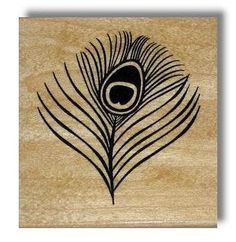 Peacock Eye Feather large Mounted rubber stamp by sweetgrasstamps, $10.00